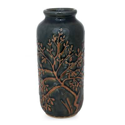 Golden Tree Authentic Thai Celadon Ceramic Handmade Vase Novica Thailand