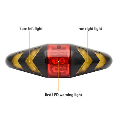 LED USB Indicator Bike Rear Tail Laser Turn Signal Light Bicycle Wireless Remote