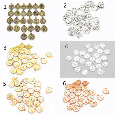 Alloy Round Shape DIY 26 Alphabet English Letters Pendant Charms Jewelry Making