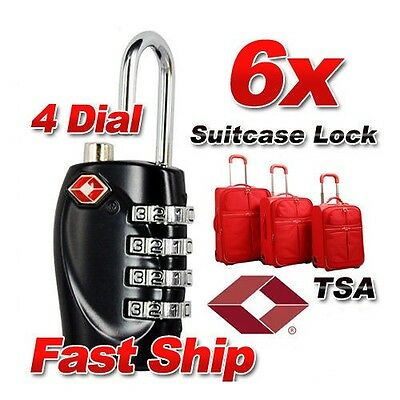 6x 4 Dial Combination TSA Security Suitcase Luggage Bag Code Lock Padlock Travel