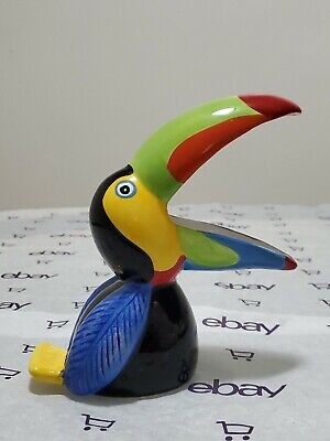 Toucan Figurine Statue Sculpture Rainbow Beak Tropical Bird Planter