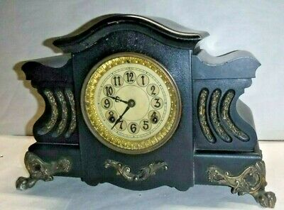 """Antique New Haven """"Malvern"""" 8 Day Mantel Chime Clock Working"""