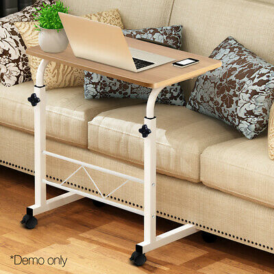 Rolling Laptop Table Adjustable Height Mobile Portable Computer Desk Home Office
