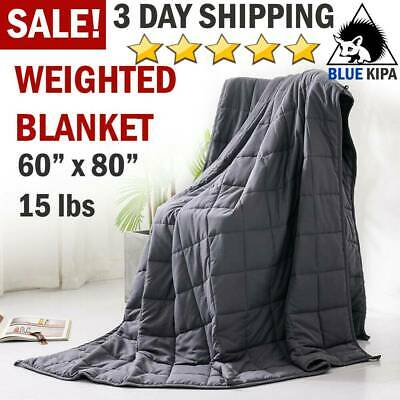 """60"""" x80"""" Weighted Blanket 15lbs Full Queen Size Reduce Stress Anxiety Deep Sleep"""