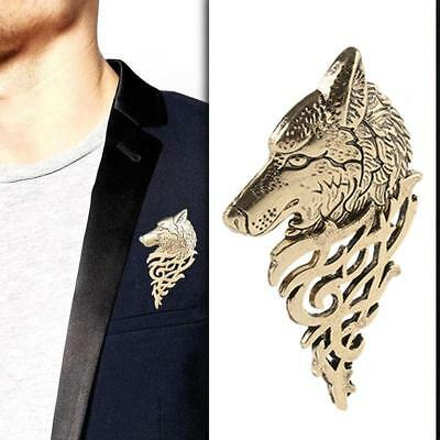 Retro Wolf Brooch Lapel Pin Men Shirt Suit Accessory Collar Stick Gift  C