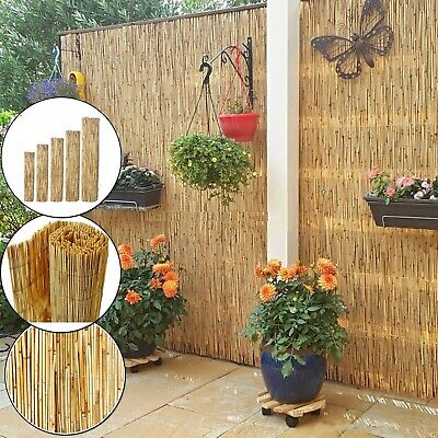 Garden Privacy Fence Thick Bamboo Reed Screen Natural Handmade Panel Wall 4m New