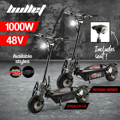 BULLET 1000W Electric Scooter 48V Turbo Red Black LED Light Adults Off Road Tyre