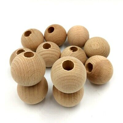 12 Pcs Mixed Size Natural Untreated Plain Wooden Round Beads Jewellery DIY M44
