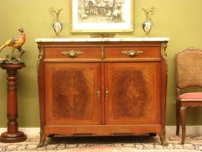 ANTIQUE FRENCH INLAID MAHOGANY+ MARBLE 2 DRAWER 2 DOOR SIDEBOARD CABINET  c1920s