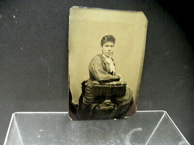 Antique Rare Civil War Era Lovely Young Black American Girl Tintype Photograph