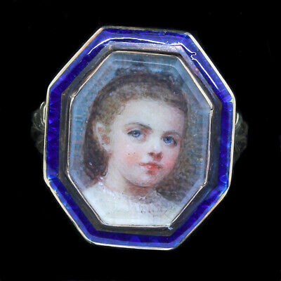 Antique Victorian Ring Miniature Portrait 18k Gold Enamel French Girl (4728)