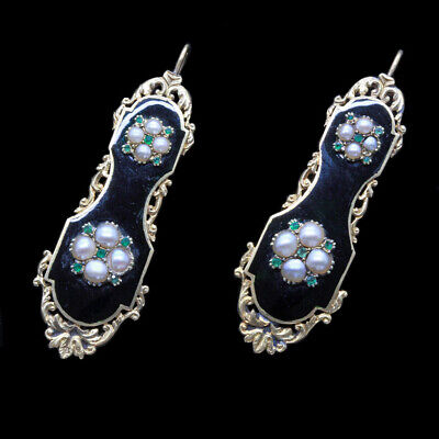 Antique Earrings Gold Pearls Emeralds Georgian Victorian French (5336)