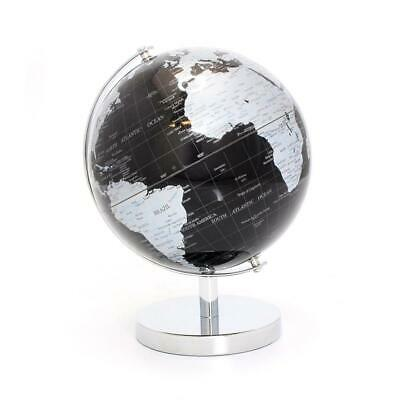 Rotating Black And Silver World Globe On Stand Home Decor Map Atlas Gift
