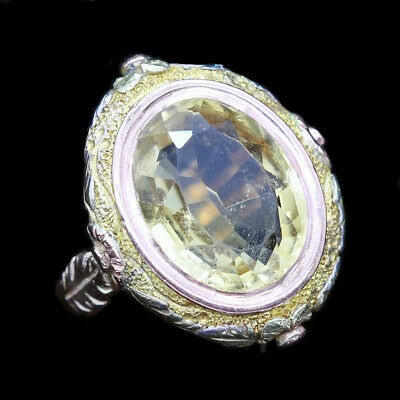 Antique Georgian - early Victorian Large Ring 15k 2-tone Gold Citrine (5966)
