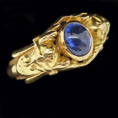 Egyptian Revival Ring Antique Archaeological 18k Gold Sapphire French (6034)