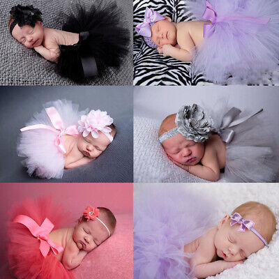Newborn Baby Girls Crochet Knit Skirt Costume Photography Photo Props UK