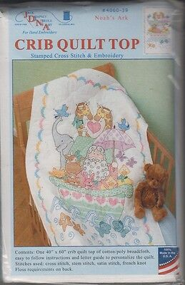 """1 Jack Dempsey """"Noah's Ark"""" Stamped XStitch-Embroidery Crib Quilt Top"""