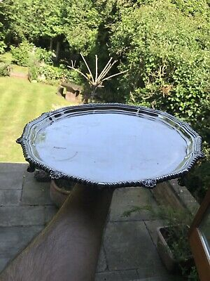 Antique Style Solid Silver Salver Tray Bird Claw Feet Sheffield Cooper Brothers