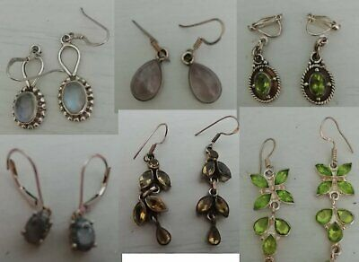 Vintage real silver earrings with gemstones - lots of styles to choose from