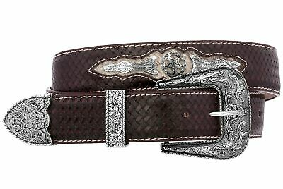 Mens Western Cowboy Belt  Ranger Concho Genuine Leather Brown Removable Buckle
