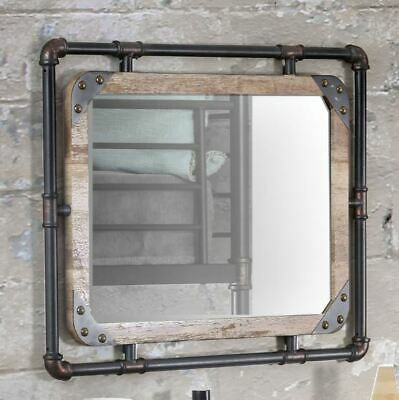 Industrial Wall Mirror Decorative Antique Vintage Metal Wood Accent Rustic Entry