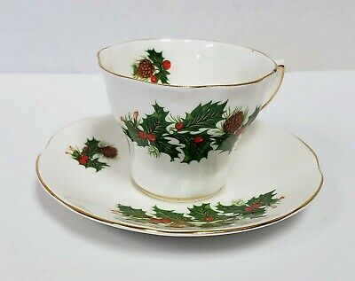 Vintage Tea Cup and Saucer, Queens Yuletide Rosina China England