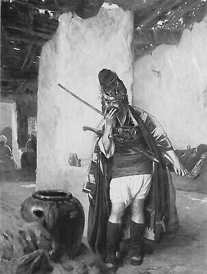 BASHI BAZOUK Ottoman Army Soldier Drinks Water - Superb GEROME Antique Print