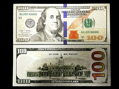 US $100 Dollar Silver Foil Banknote Bill WIth Green Seal & Blue Stripe