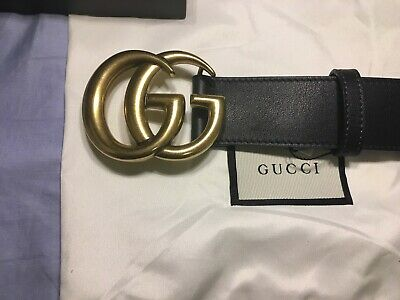f325c6a24 NWT AUTHENTIC GUCCI Black Leather Marmont Belt Gold Brass GG Buckle ...
