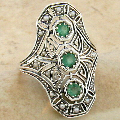 Genuine Emerald 925 Sterling Vintage Art Deco Style Silver Ring Size 8,     #753