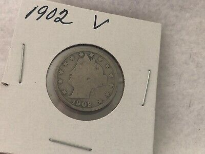 1902 V Liberty Head Nickel US Coin Currency 5c