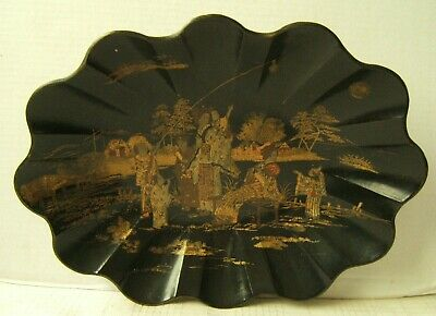 Beautiful Japanese Lacquer Tray Bowl Gold Gilded Well Decorated 19Th Century
