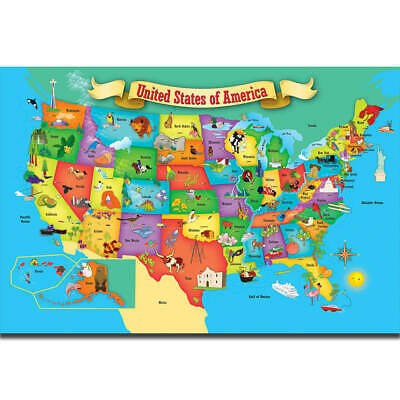 Kids Education World Map Of USA Geography School Hot Poster K-265