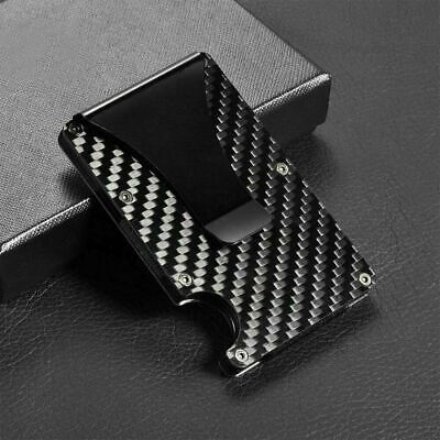 Men's Wallet RFID Blocking Carbon Fiber Minimalist Ridge Money Clip Front Pocket