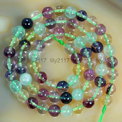 """Beautiful 6mm Natural Colorful Fluorite Gemstones Smooth Round Loose Beads 15"""""""