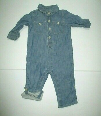 Boys Baby Gap 1969 Blue Chambray Jersey Lined Jumpsuit Longall Outfit Sz 12-18 M