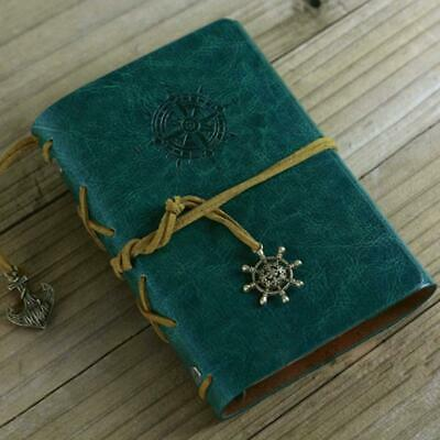 Retro Vintage Leather Bound Blank Page Notebook Note Notepad Journal Diary AE