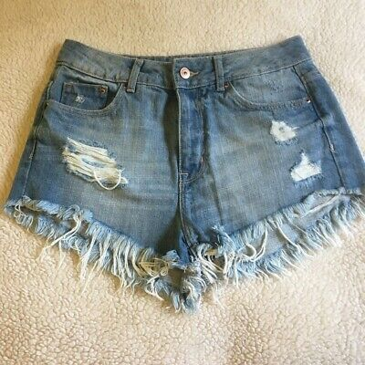 9ea6ed343 H&M Divided Womens Jean Shorts Blue Cut-Off Mid Rise Distressed Frayed Denim  6