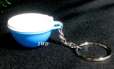 Tupperware New Mini Miniature Blue Thatsa Bowl Keychain Keyring with White Seal