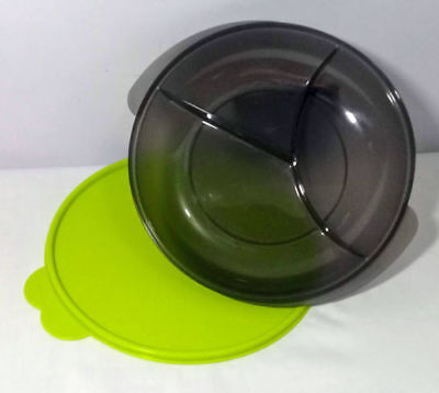 Tupperware NEW Black Lunch Reheatable Microwave Divided Dish Green Seal Lid