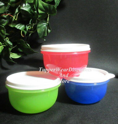 Tupperware NEW IDEAL LITTLE 3 Snack Cup BOWLS SET Green Red & Blue White Seals