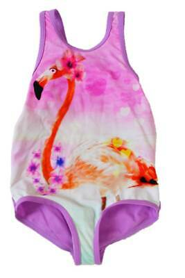 M&S swimming costume swimsuit gilrs pink lilac flamingo print age 1 2 3 years