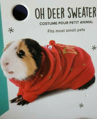 "Guinea Pig Small Animal Costume Clothes Sweater Holiday ""Oh Deer"" Christmas Xmas"