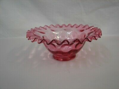 Vintage Fenton Art Glass Cranberry Pink Crumped Bowl Inverted Thumbprint