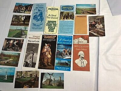 Lot Vintage Travel Brochures Booklets Postcards Virginia Williamsburg Monticello