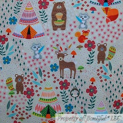 BonEful Fabric FQ Cotton Quilt Tan Brown Woodland Tent Animal Camp Bear Flower S