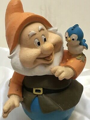 "Disney Snow White & The Seven Dwarfs ""HAPPY "" Dwarf Statue Gnome 6.5"""