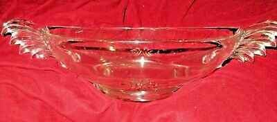 """Vintage Crystal Glass Large Bowl about 11"""" bowl 16"""" handle to handle"""
