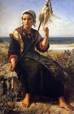 Flax Spinner by French  Jules Breton. Reproduction People 11x14 Print