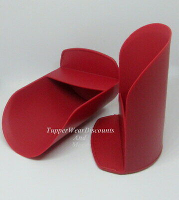 Tupperware NEW 2 Round FLOUR, Sugar Canister ROCKER SCOOPS Cranberry Red